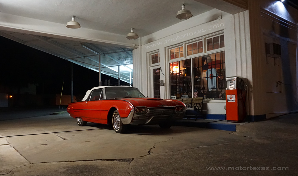 waco restored gulf service station Ford Thunderbird